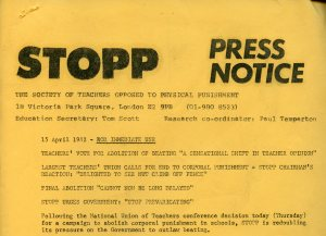 Press notice issued by the Society of Teachers Opposed to Physical Punishment (STOPP)
