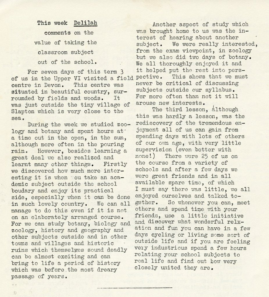 Article from 'Vox', school magazine of Eltham Green School, May 1961 (DC/BAR)