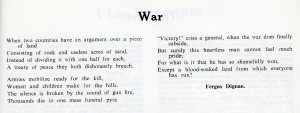 Poem by a pupil at a BFES school, 1970 (BFE/temp ref 88)
