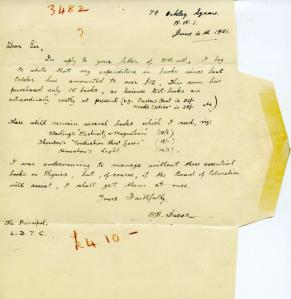 Letter from W H Lucas claiming the Board of Education book tokens for ex-Service students (IE/STU/C/2/3)