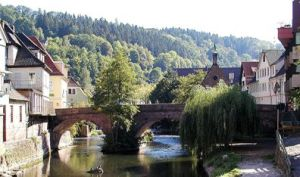 Calw in the Black Forest, the model for the town in the book. Photograph by Softeis from Wikipedia.