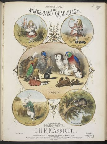 Illustrated music cover of 'The Wonderland Quadrilles…for Pianoforte' composed by Charles Marriott in 1872, showing scenes from Alice's Adventures in Wonderland