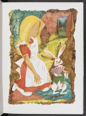 An illustration of Alice with the White Rabbit from an illustrated edition of Alice's Adventures in Wonderland by Leonard Weisgard