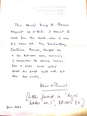 Letter from Alicia C. Percival
