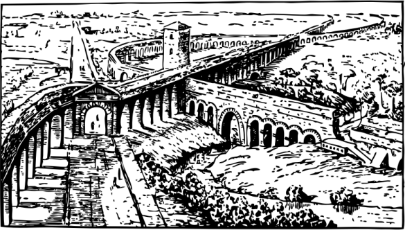 Drawing of curving Roman aqueducts crossing over.