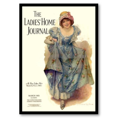 Cover of 'Ladies Home Journal': young girl in bonnet and blue dress with flowers and frills.