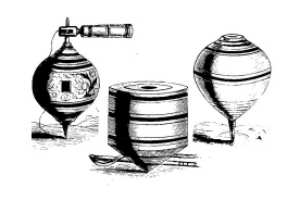 Drawing of three spinning tops.