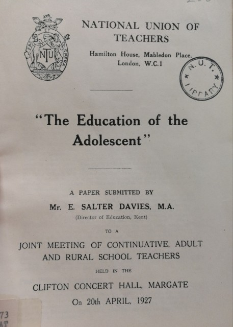 Education of the adolescent