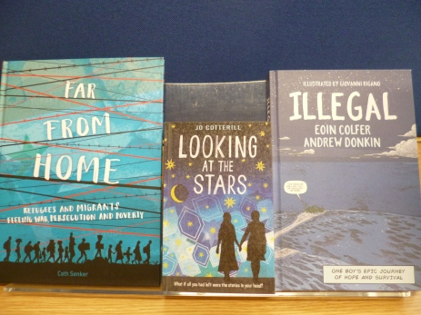 Books with blue covers: 'Far from home', 'Looking at the stars', 'Illegal'.