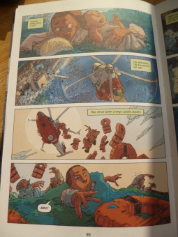 Page from graphic novel, showing drowning refugees rescued by helicopter.