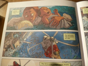 Page from graphic novel, showing drowning boy and baby rescued by helicopter.