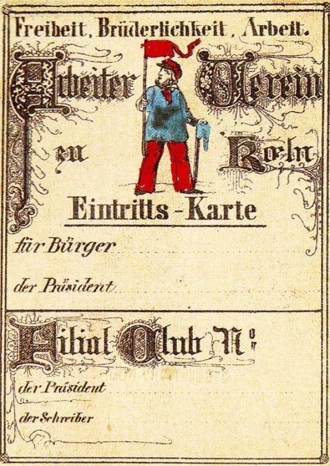 Ticket with man in blue shirt and red hat and neckerchief; motto: Freiheit, Brüderlichkeit, Arbeit.