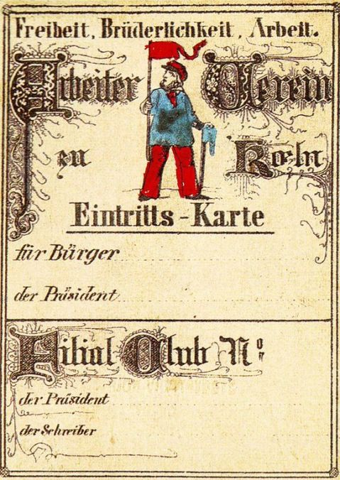 Ticket with man in blue shirt and red hat and neckerchief; motto: Freiheit, Brüderlichkeit, Arbeit.