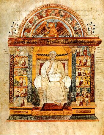 Bright illustration of St Luke, sitting on an armchair with a book, with many other scenes around him.