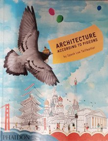 Book cover: painting of pigeon flying above landmarks of cities.