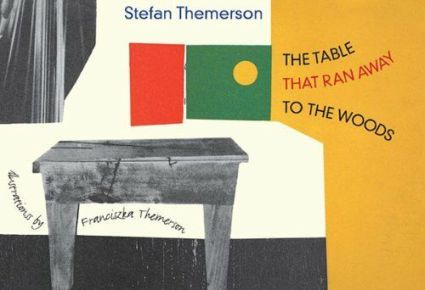 Book cover showing a b&w table and a multi-coloured window.