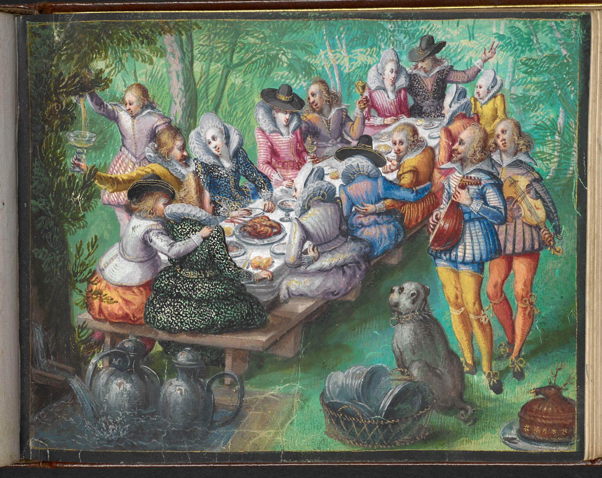 a634e8dcef71 Miniature painting of banquet in garden  bright clothes from around 1600.