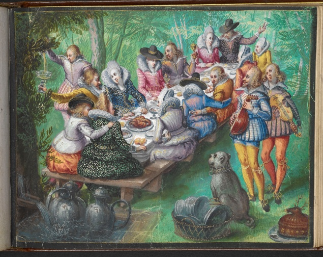 Miniature painting of banquet in garden; bright clothes from around 1600.