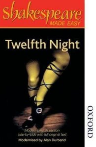 Book cover of Twelfth night: man's legs in yellow tights and black shoes.