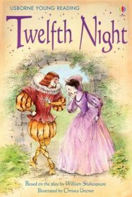 Book cover of Twelfth night: gentleman all in yellow, lady all in pink, dress around 1600.