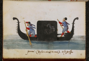 Black gondola with oarsmen and cabin with closed curtains.