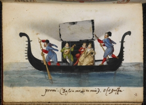 Black gondola with oarsmen and cabin with opened curtains, revealing lute player and couple.