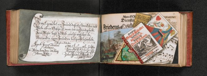 Trompe l'oeil painted into a book, looking like pile of papers (letters, calendars, newspaper, etc.)