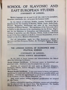 Ads from: Careers encylopedia (1963). Courses at School of Slavonic Studies and London School of Economics.