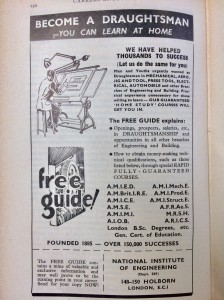 Ad from: Careers encylopedia (1963). Correspondence courses in draughtsmanship.