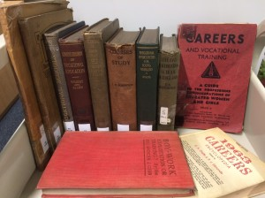 Books on careers and vocational education, 1900's to 1960's, on trolley.