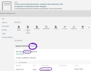 Screenshot of UCL Explore, demonstrating request from stores.