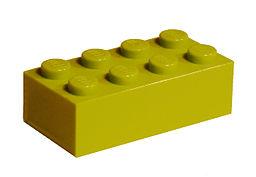 Yellow or light green Lego brick.