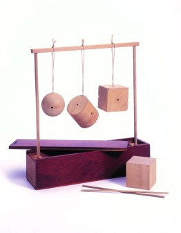 Simple wooden toys: bricks with holes and sticks to connect them.