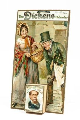 Dickens calendar for 1908, with paintings of woman in bonnet and man in top hat and Dickens.