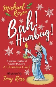Bright red book cover withschoolboy playing Scrooge, barefoot in nightcap.