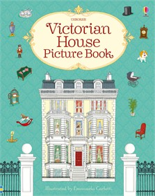 Book cover with colourful drawing of Victorian house, furniture, toys, etc.