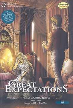 Book cover with comic-style illustration of candle-lit hall in mansion.